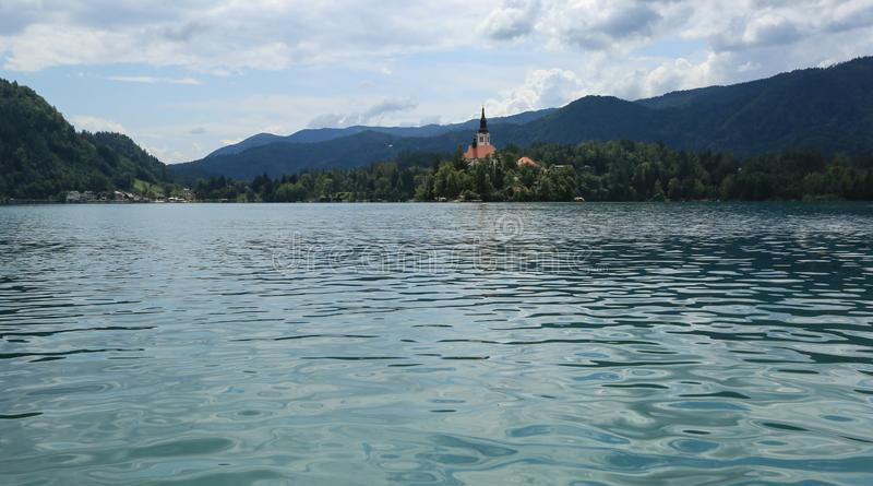 Bled lake in slovenia on sunny summer day royalty free stock photography