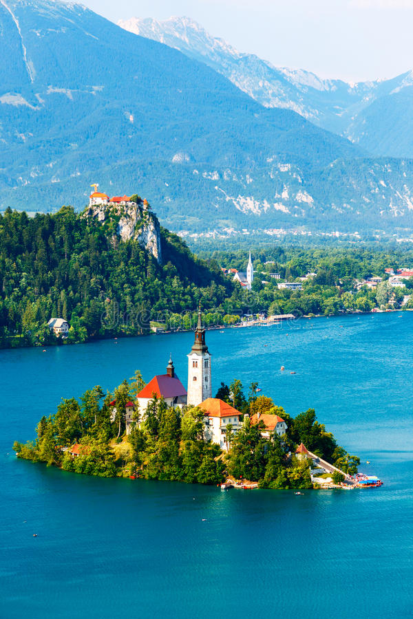 Bled with lake in summer, Slovenia stock images