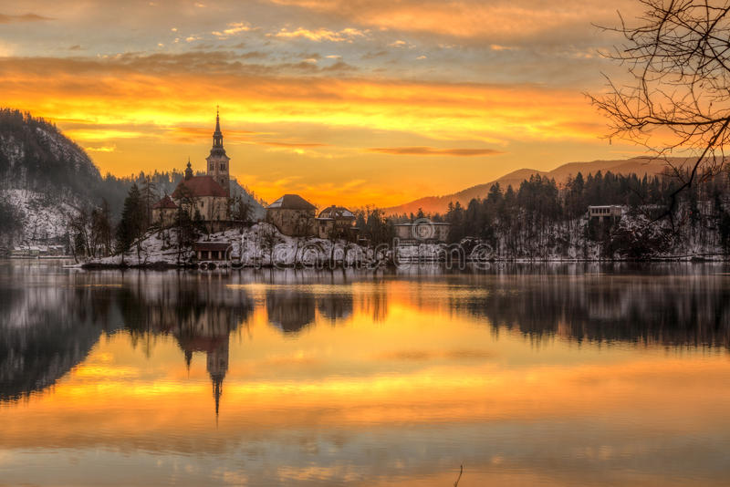 Bled with lake in winter, Slovenia, Europe royalty free stock images