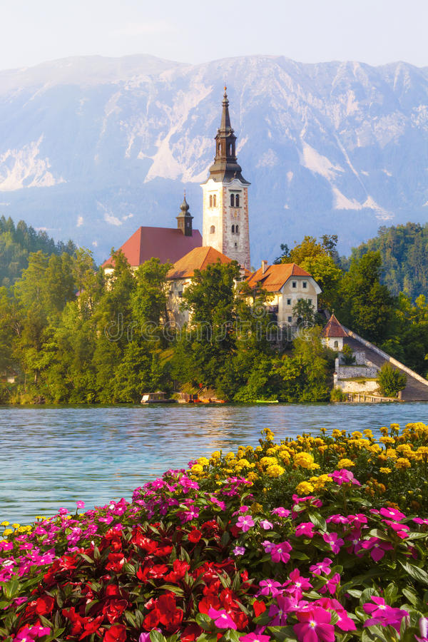 Bled, Slovenia. Island in the middle of the lake with church. Island on the lake with the church of St. Martin. Bled is a town on Lake Bled in northwestern royalty free stock photo