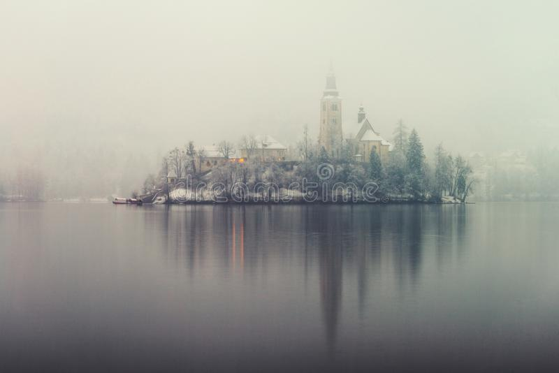 Anoramic view of Bled lake in the morning, Slovenia stock photo