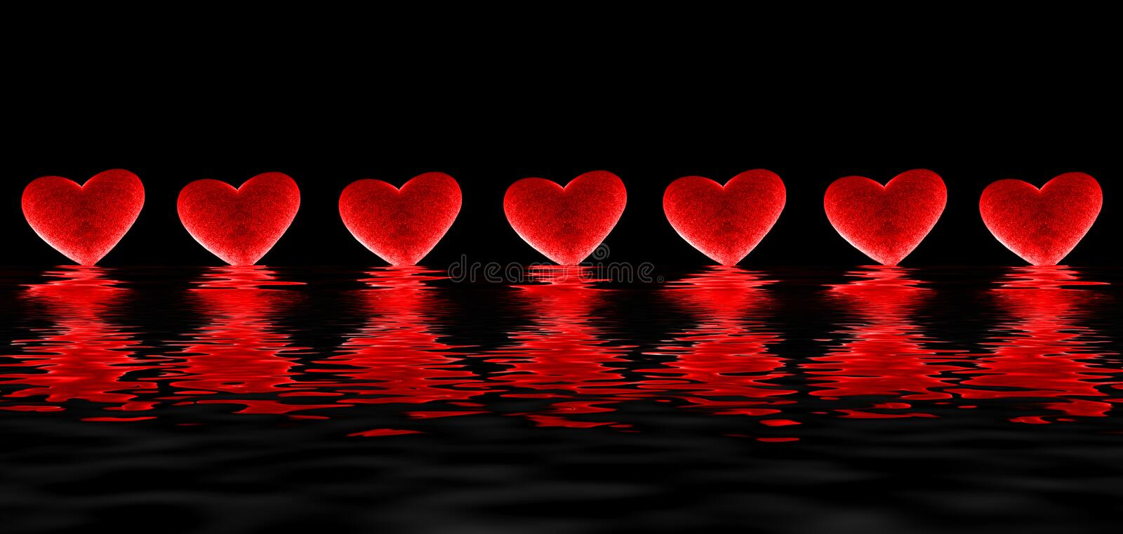 Bleeding Hearts. Glowing, floating, bleeding red hearts with water ripples reflections below all on a black background to make a unique conceptual background stock illustration