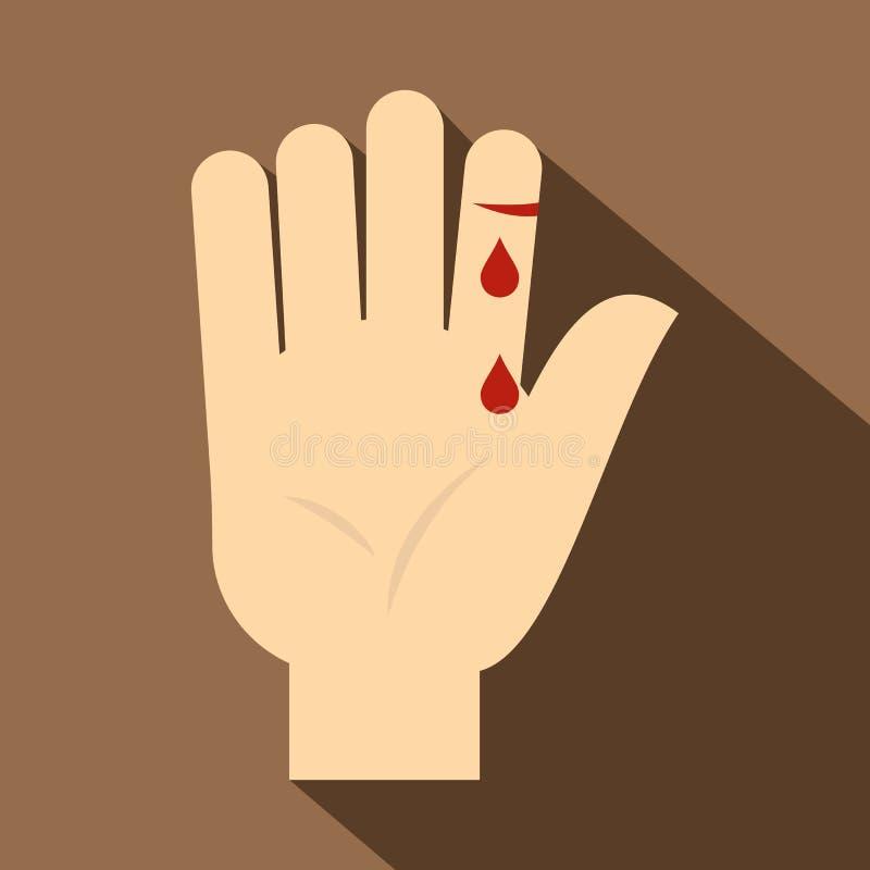 Bleeding human thumb icon, flat style stock illustration