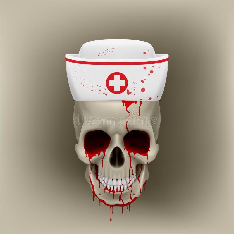 Download Bleeding Skull In Nurse Cap Stock Vector - Illustration of fatal, horror: 39845102