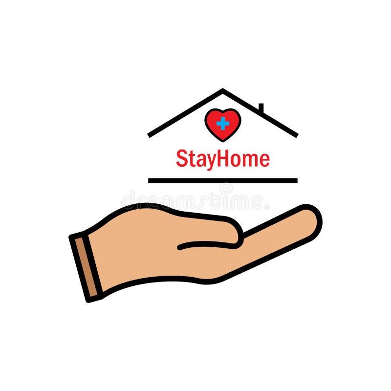 Bleiben Sie mit Hand, Herz, Medizin und Haus im Haus Schutzkampagne oder Maßnahme gegen Coronavirus COVID-19 vektor abbildung
