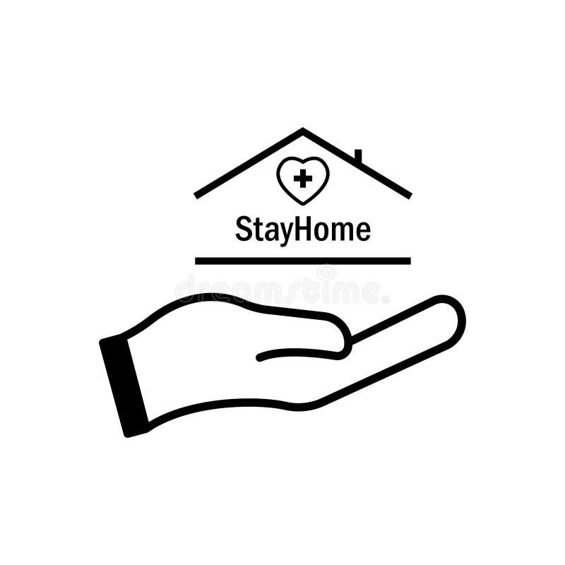 Bleiben Sie mit Hand, Herz, Medizin und Haus im Haus Schutzkampagne oder Maßnahme gegen Coronavirus COVID-19 lizenzfreie abbildung