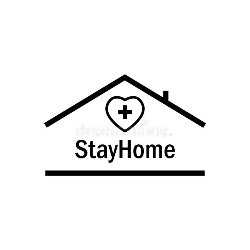 Bleiben Sie mit Herzmedizin und Haus im Haus Schutzkampagne oder Maßnahme gegen Coronavirus COVID-19 stock abbildung