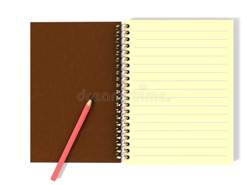 Bleistift auf Notizblock stock abbildung