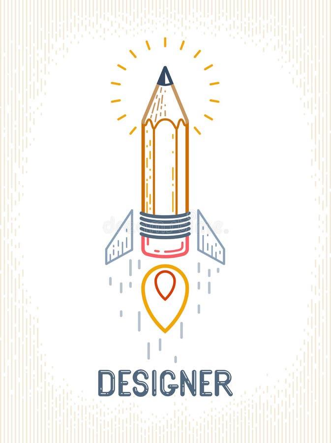 Bleistift, der oben wie ein Raketenanfang, kreativer Energiegeniek?nstler oder Designer, Vektorentwurfs- und Kreativit?tslogo ode vektor abbildung