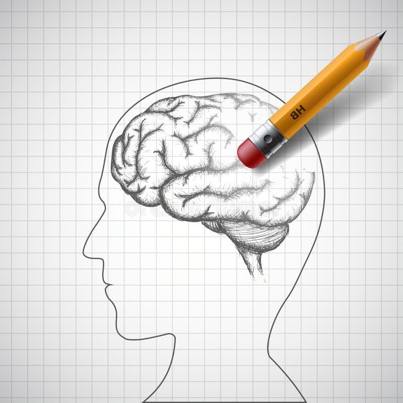 Bleistift löscht das menschliche Gehirn Alzheimer Krankheit Vorrat I vektor abbildung