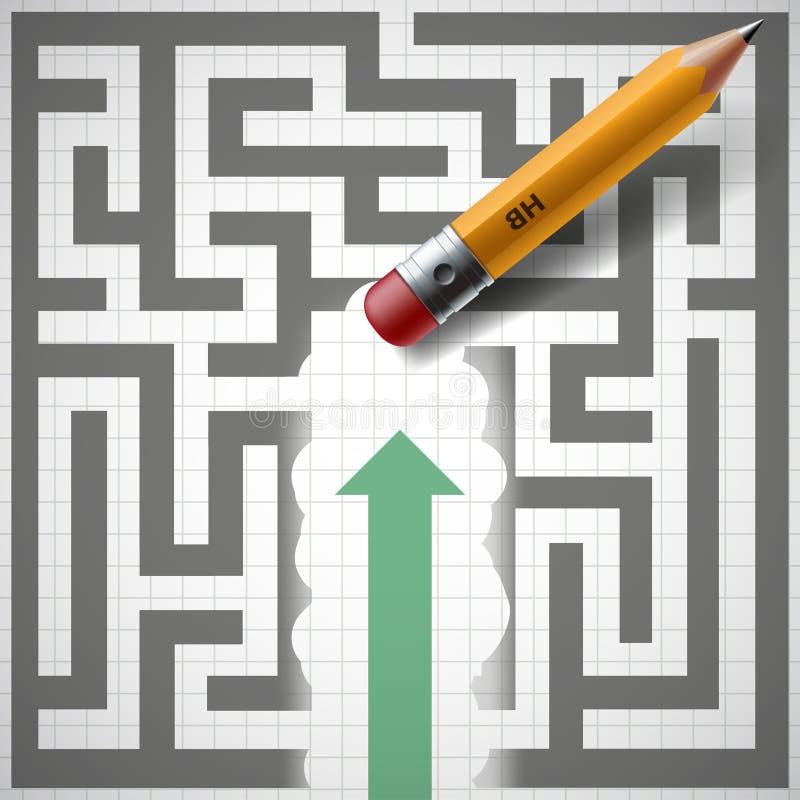 Bleistift löscht Labyrinth Neue Gelegenheiten Auf lagerabbildung stock abbildung