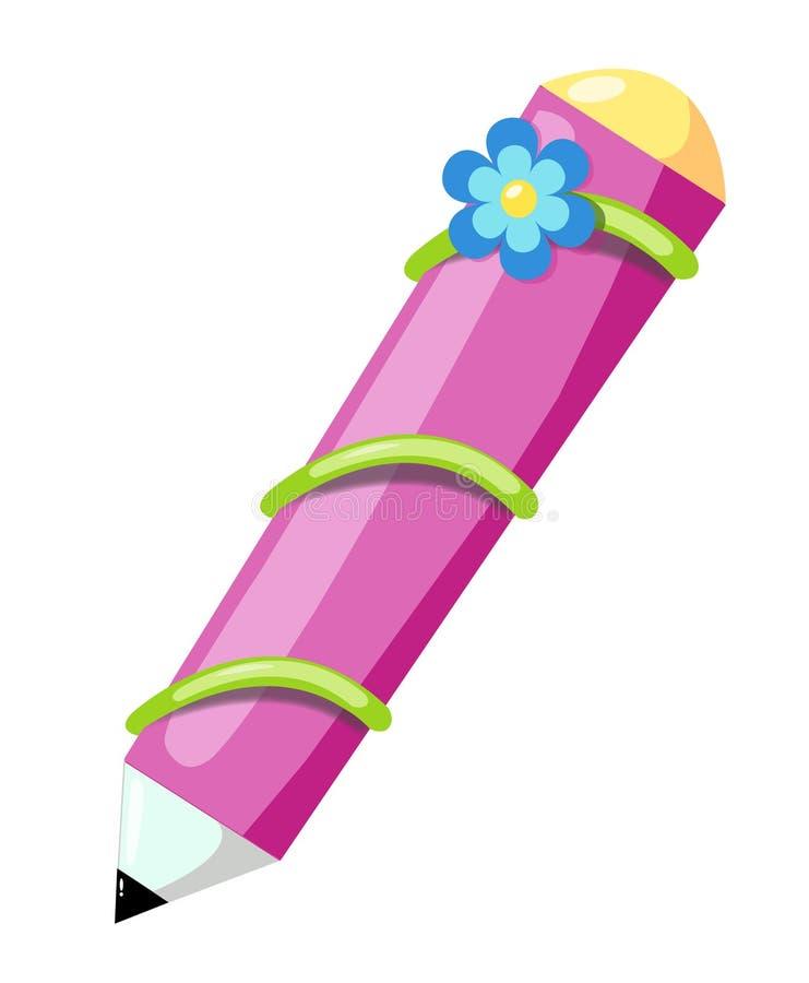Bleistift mit Blume stock abbildung