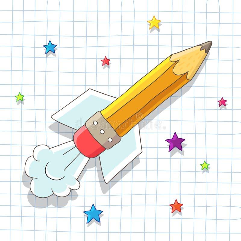 Bleistift Rocket steigt in den Sternen an vektor abbildung