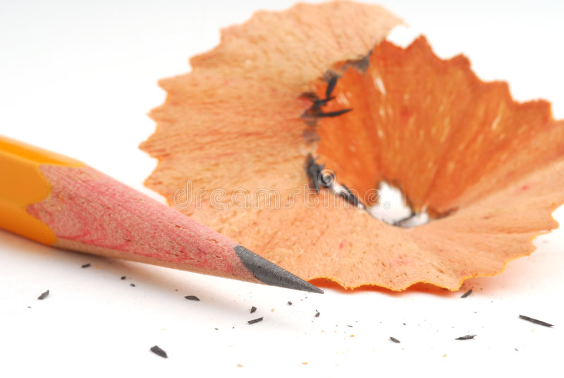 Bleistift und Bleistiftschnitzel lizenzfreies stockbild