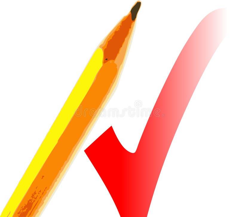 Bleistift und Check lizenzfreie abbildung