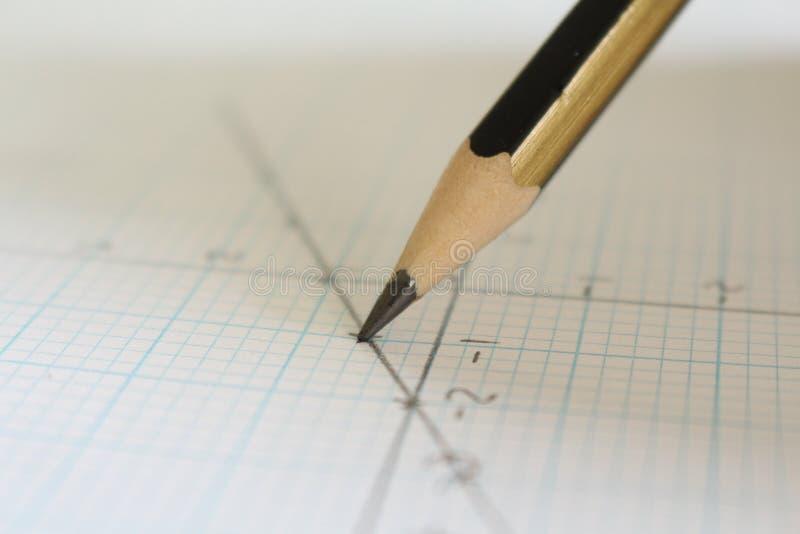 Bleistift und Diagramm stockfotos