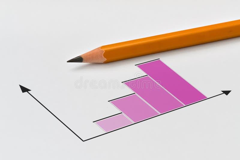 Bleistift und Diagramm stockfotografie