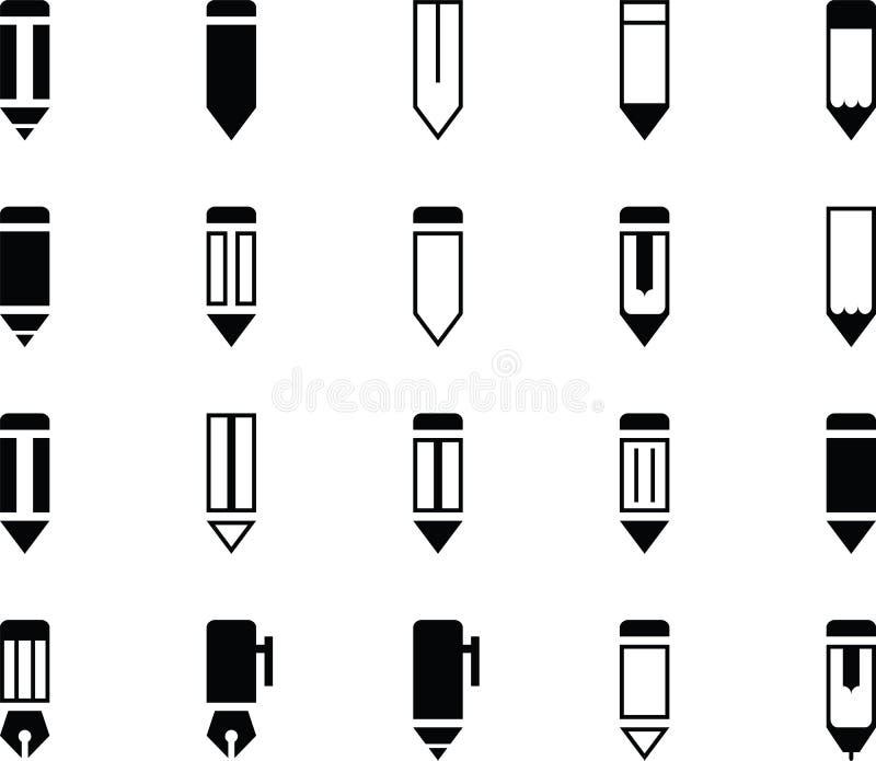 Bleistift und Pen Various Icons lizenzfreies stockfoto