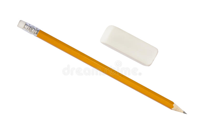 Bleistift und Radiergummi stockbild