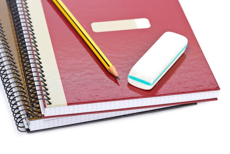 Bleistift und Radiergummi stockfotos