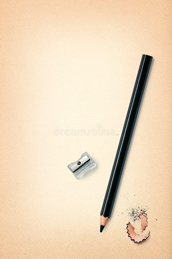 Bleistift und Schnitzel stockfoto