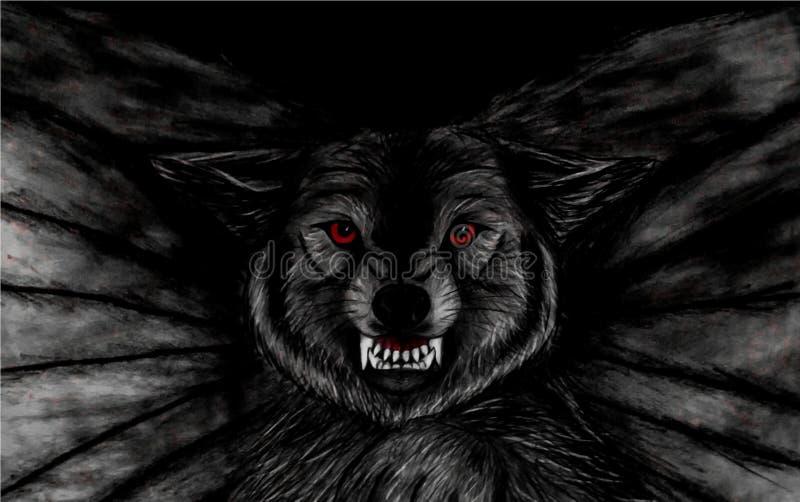 Bleistift-Zeichnung der Nahaufnahme eines bedrohlichen schwarzen Fliegenwolfs mit roten Augen auf schwarzem Hintergrund stock abbildung