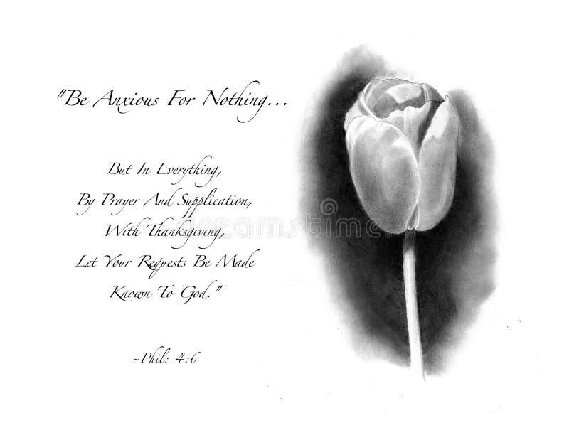 Bleistift-Zeichnung der Tulpe mit Bibel-Vers lizenzfreie stockfotos