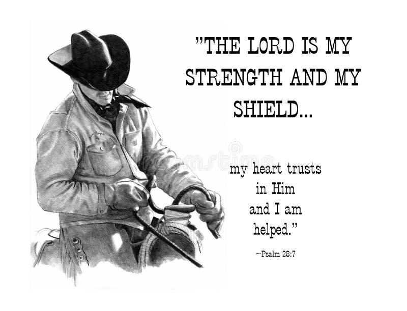 Bleistift-Zeichnung des Cowboys mit Bibel-Vers lizenzfreie abbildung