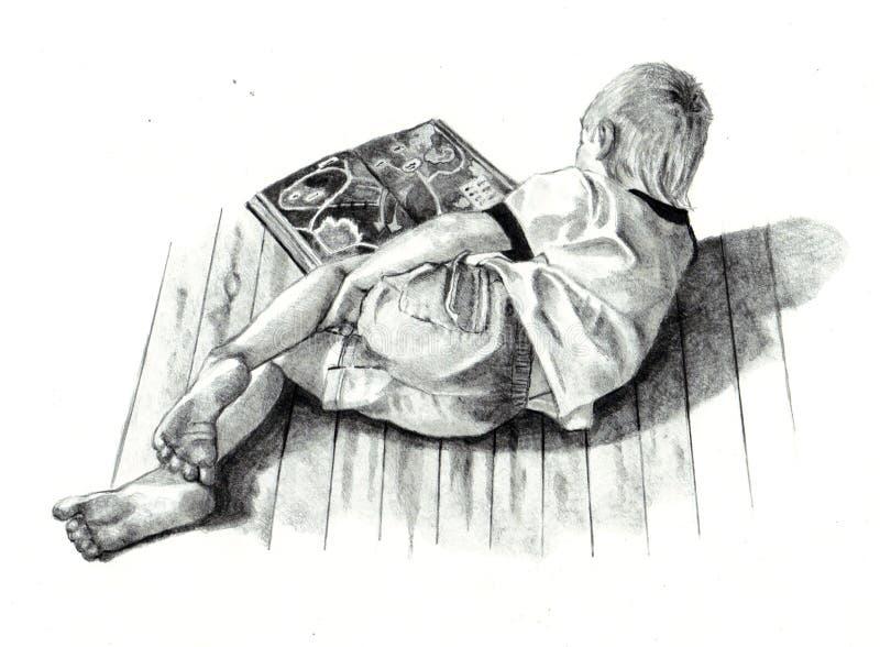 Bleistift-Zeichnung des Jungen-Lesebuches lizenzfreie abbildung