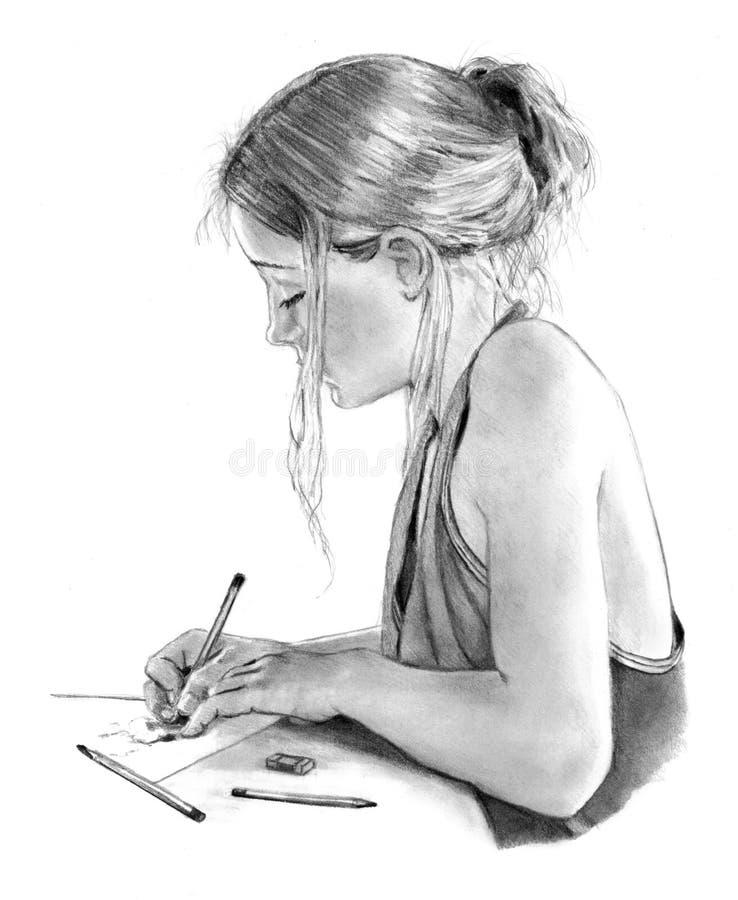 Bleistift-Zeichnung des junges Mädchen-Schreibens oder der Zeichnung. vektor abbildung