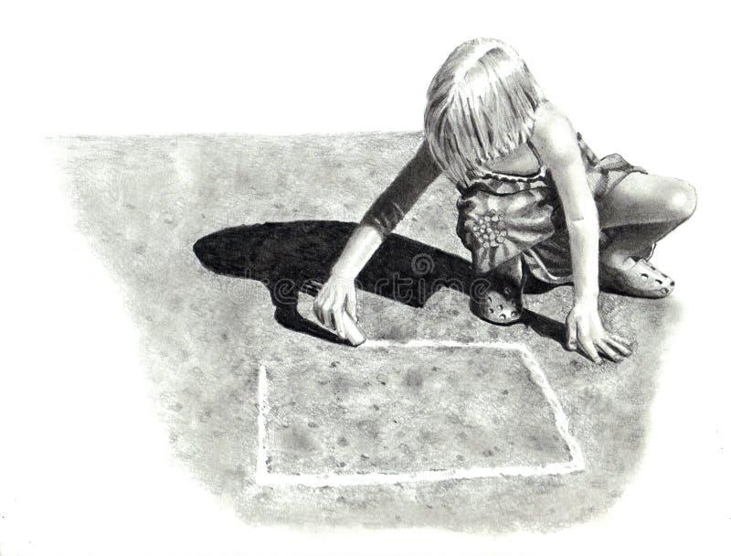 Bleistift-Zeichnung des Mädchens Hopse spielend lizenzfreie abbildung