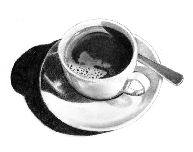 Bleistift-Zeichnung des Tasse Kaffees stock abbildung