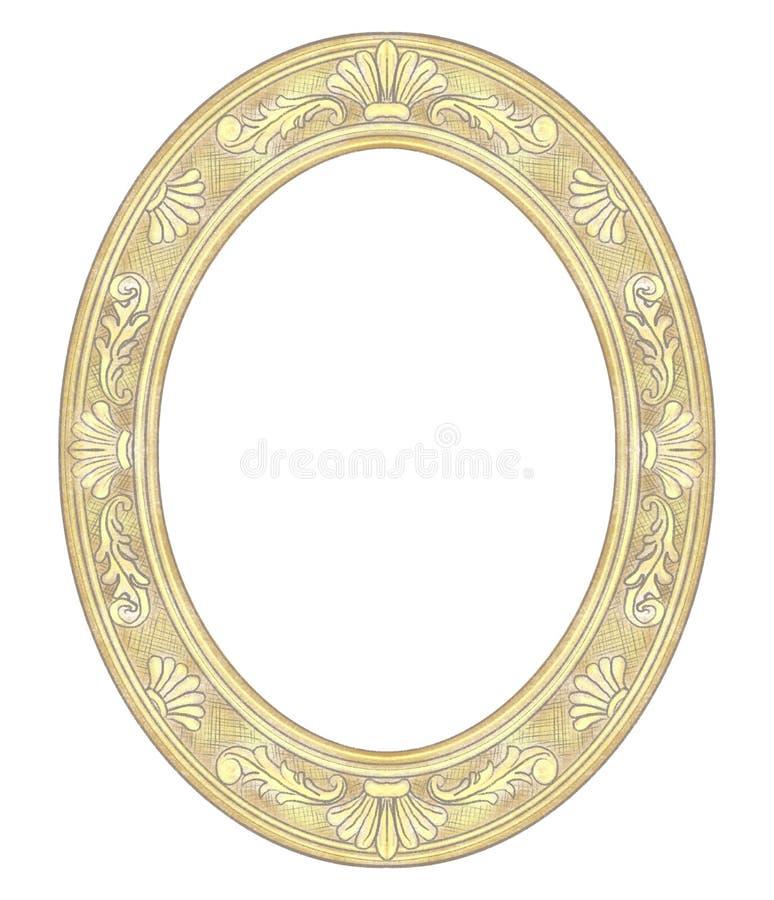 Bleistift-Zeichnung mit klassischem goldenem ovalem Rahmen lizenzfreie abbildung