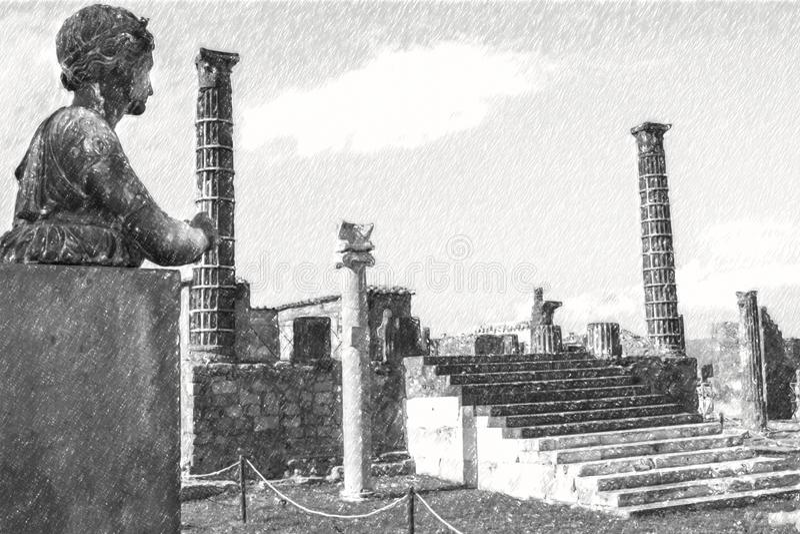 Bleistift-Zeichnung von Pompeji, alte römische Statue von Apollo stock abbildung
