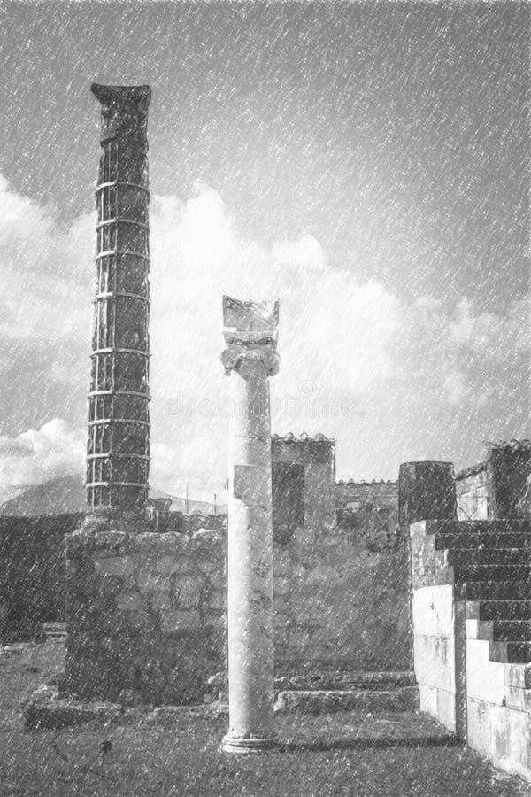 Bleistift-Zeichnung von Pompeji, alte römische Statue von Apollo lizenzfreie abbildung