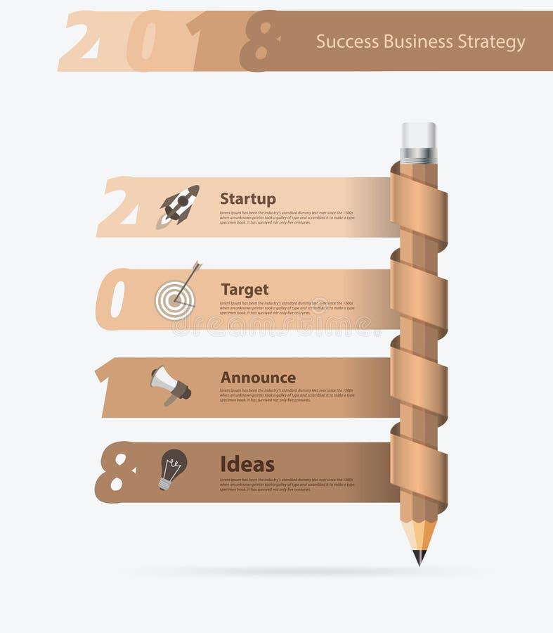 Bleistiftdesign-Geschäftserfolgneues Jahr 2018 des Vektors kreatives stock abbildung