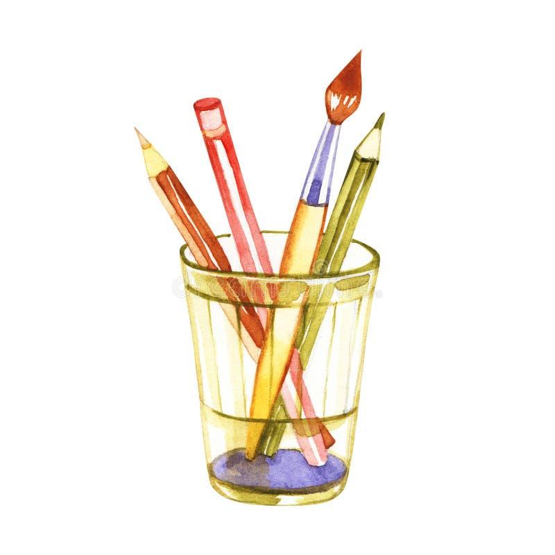 Bleistifte, Bürsten, Aquarellillustration Karikaturartgestaltungselement für Künstler workplaceeinterior, Schulklasse vektor abbildung