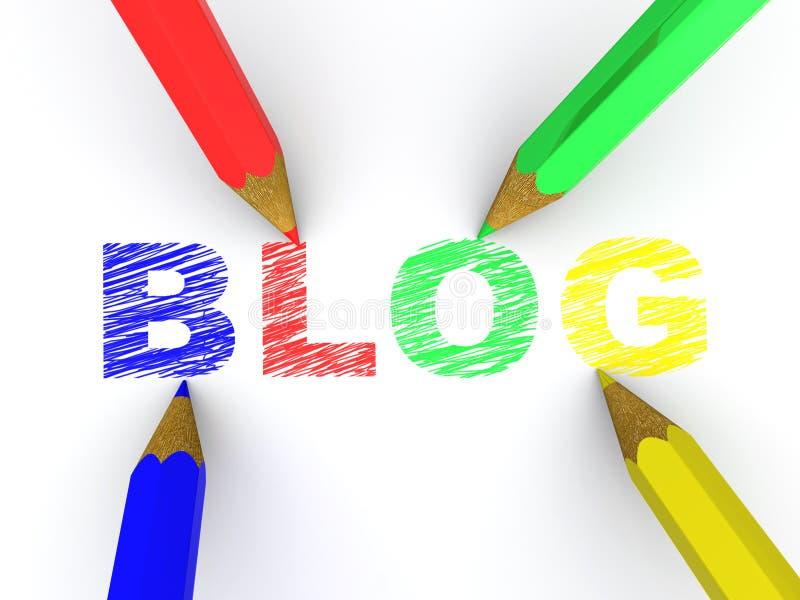 Bleistifte, die Text-Blog bildlich darstellen vektor abbildung