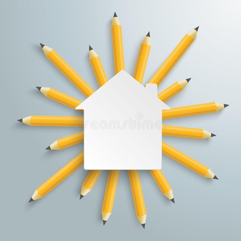 Bleistifte Sun-Wohnungsbau lizenzfreie abbildung