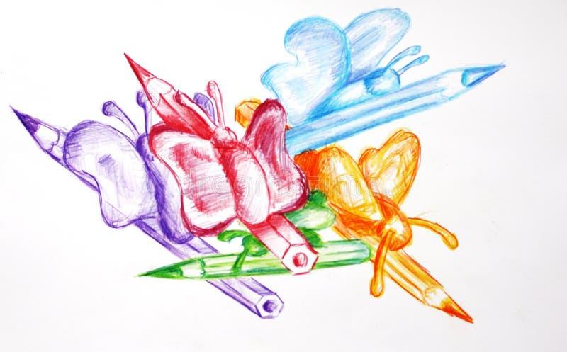 Bleistifte und Basisrecheneinheiten lizenzfreie abbildung