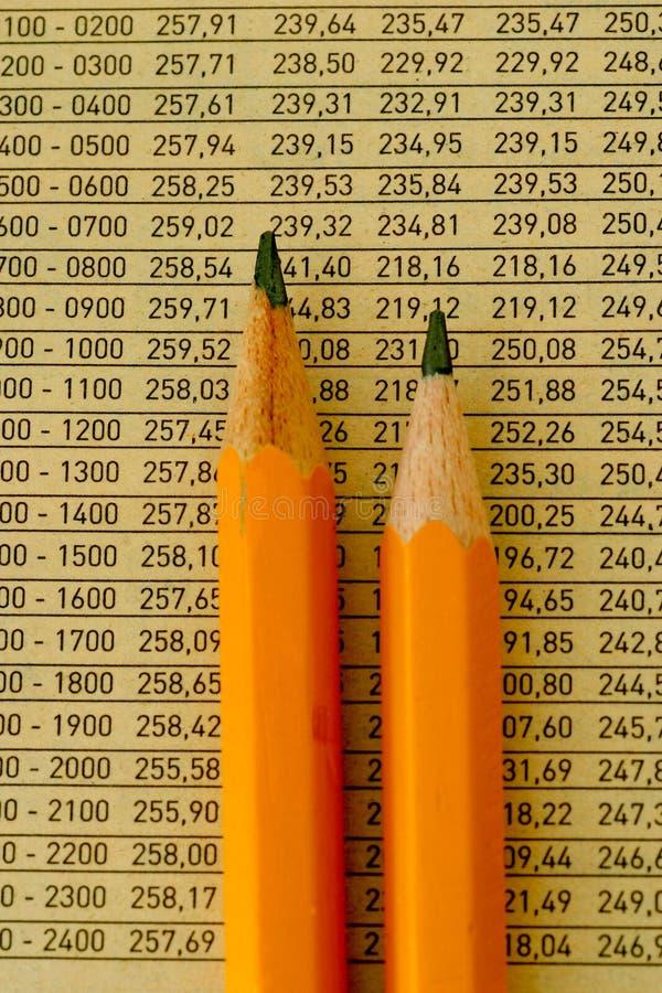 Bleistifte und Zahlen lizenzfreies stockbild