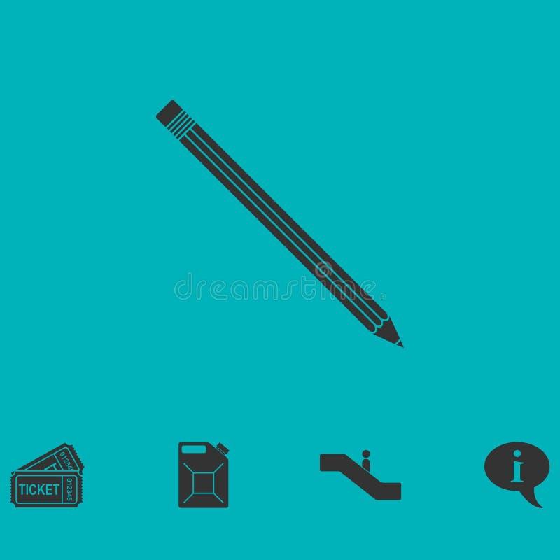 Bleistiftikone flach stock abbildung