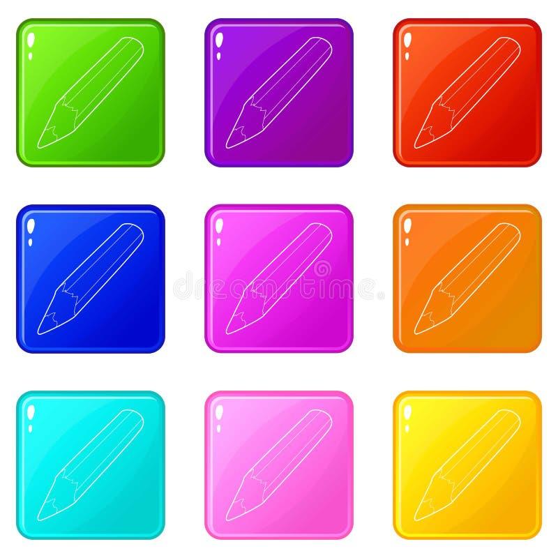Bleistiftikonen stellten die 9 Farbsammlung ein vektor abbildung