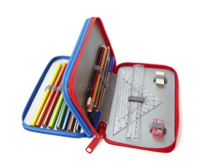 Bleistiftkasten-Tabellierprogramm-Schuleausbildung stockbilder