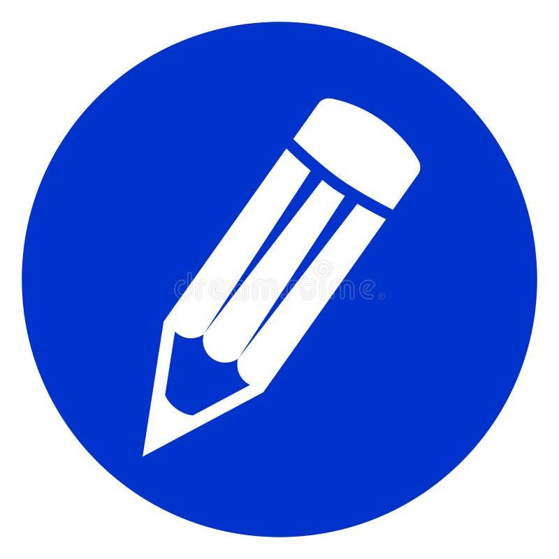 Bleistiftkreis-Blauikone lizenzfreie abbildung