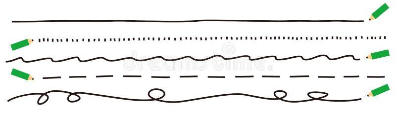 Bleistiftlinien, schwarze Farbe stock abbildung