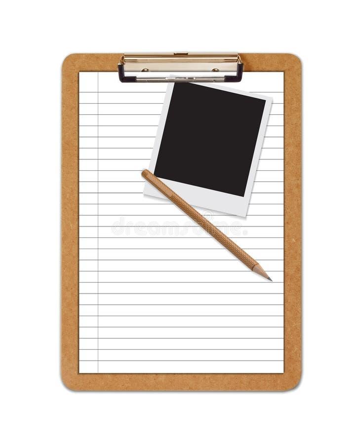 Bleistiftpolaroid des angeordneten Papiers des Schule-Klemmbrettes stock abbildung