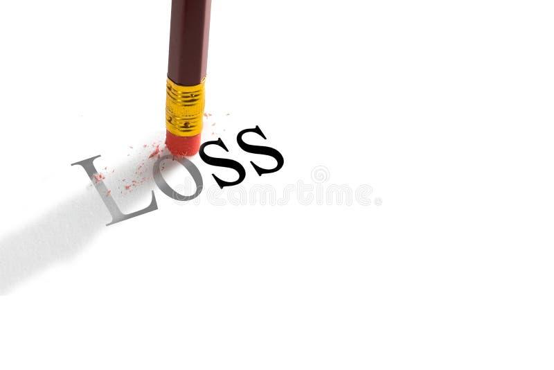 Bleistiftradiergummi, der versucht, das Wort ` Verlust ` auf Papier zu entfernen Konzept stockbilder