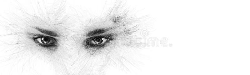 Bleistiftskizzengesichtsschattenbild-Frauenaugen, die beiseite Kamera auf wei?em Hintergrundkopienraum nach Ihrem Begriffstext be vektor abbildung