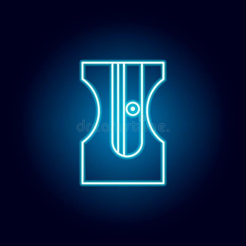Bleistiftspitzer, Bleistift, sharping Werkzeugentwurfsikone in der Neonart Elemente der Ausbildungsillustrationslinie Ikone Zeich stock abbildung